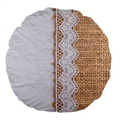 Parchement,lace And Burlap Large 18  Premium Flano Round Cushions by 8fugoso