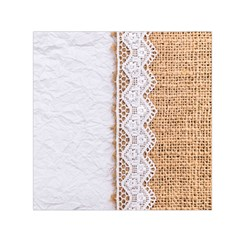 Parchement,lace And Burlap Small Satin Scarf (square) by 8fugoso