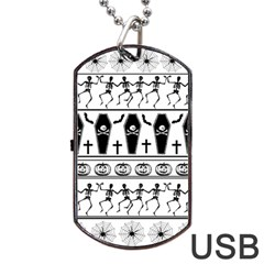 Halloween Pattern Dog Tag Usb Flash (two Sides)