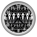 Halloween pattern Wall Clocks (Silver)