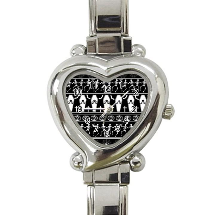 Halloween pattern Heart Italian Charm Watch