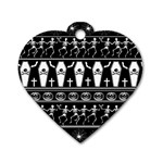 Halloween pattern Dog Tag Heart (One Side)