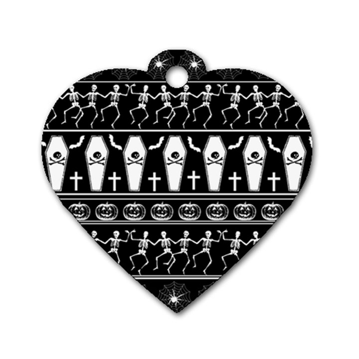 Halloween pattern Dog Tag Heart (Two Sides)