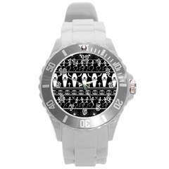 Halloween Pattern Round Plastic Sport Watch (l) by ValentinaDesign