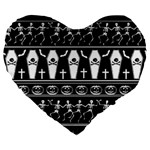 Halloween pattern Large 19  Premium Heart Shape Cushions