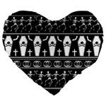 Halloween pattern Large 19  Premium Flano Heart Shape Cushions