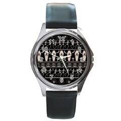 Halloween Pattern Round Metal Watch by ValentinaDesign
