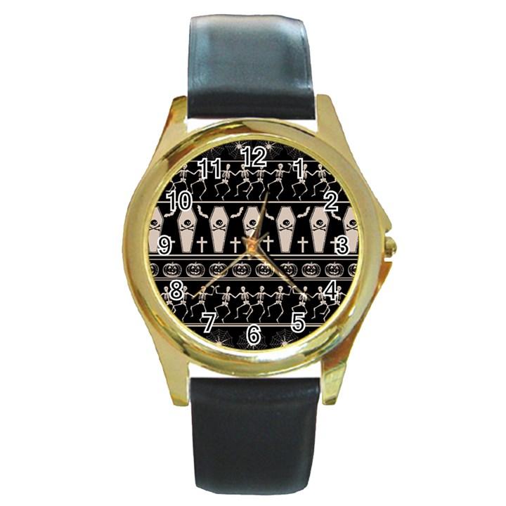 Halloween pattern Round Gold Metal Watch
