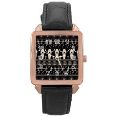 Halloween Pattern Rose Gold Leather Watch  by ValentinaDesign