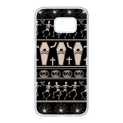 Halloween Pattern Samsung Galaxy S7 Edge White Seamless Case by ValentinaDesign