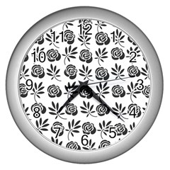 Vintage Roses Wall Clocks (silver)  by allgirls