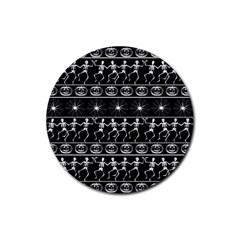 Halloween Pattern Rubber Round Coaster (4 Pack)  by ValentinaDesign
