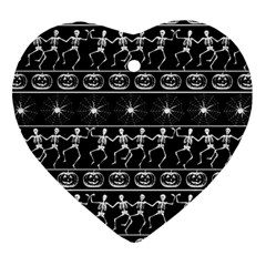 Halloween Pattern Heart Ornament (two Sides) by ValentinaDesign