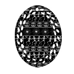 Halloween Pattern Ornament (oval Filigree) by ValentinaDesign