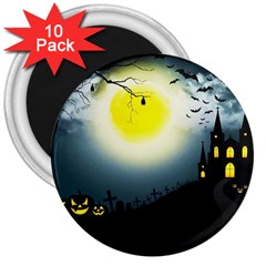 Halloween Landscape 3  Magnets (10 Pack)  by ValentinaDesign