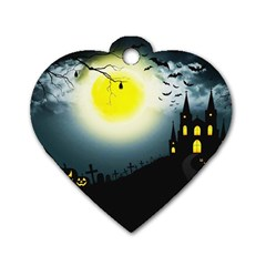 Halloween Landscape Dog Tag Heart (one Side) by ValentinaDesign