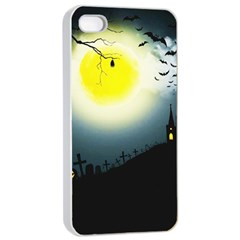 Halloween Landscape Apple Iphone 4/4s Seamless Case (white) by ValentinaDesign