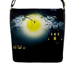 Halloween Landscape Flap Messenger Bag (l)  by ValentinaDesign