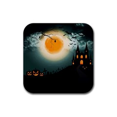 Halloween Landscape Rubber Square Coaster (4 Pack)  by ValentinaDesign