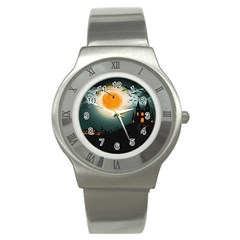 Halloween Landscape Stainless Steel Watch by ValentinaDesign