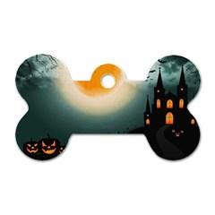 Halloween Landscape Dog Tag Bone (two Sides) by ValentinaDesign