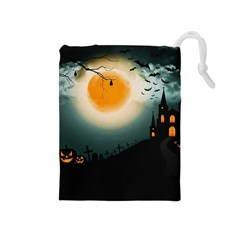 Halloween Landscape Drawstring Pouches (medium)  by ValentinaDesign