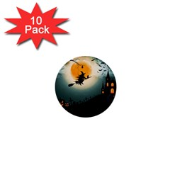 Halloween Landscape 1  Mini Buttons (10 Pack)  by ValentinaDesign