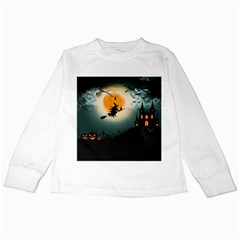 Halloween Landscape Kids Long Sleeve T Shirts by ValentinaDesign