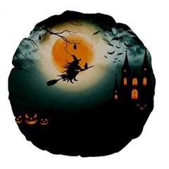 Halloween Landscape Large 18  Premium Round Cushions by ValentinaDesign