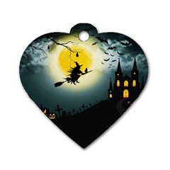 Halloween Landscape Dog Tag Heart (two Sides) by ValentinaDesign