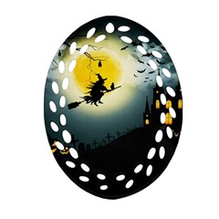 Halloween Landscape Ornament (oval Filigree) by ValentinaDesign
