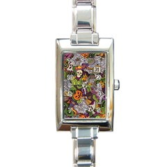 Halloween Pattern Rectangle Italian Charm Watch by ValentinaDesign