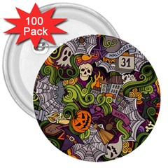 Halloween Pattern 3  Buttons (100 Pack)  by ValentinaDesign