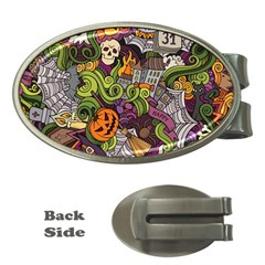 Halloween Pattern Money Clips (oval)  by ValentinaDesign