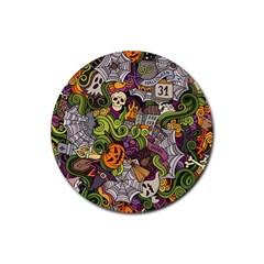 Halloween Pattern Rubber Coaster (round)  by ValentinaDesign