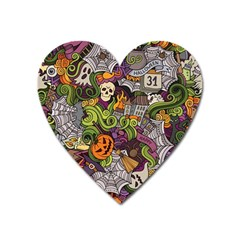 Halloween Pattern Heart Magnet by ValentinaDesign