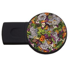 Halloween Pattern Usb Flash Drive Round (4 Gb) by ValentinaDesign