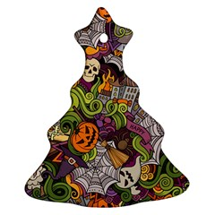 Halloween Pattern Christmas Tree Ornament (two Sides) by ValentinaDesign