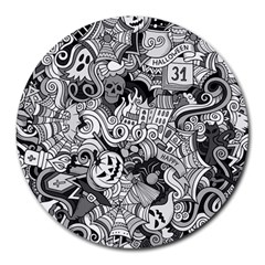 Halloween Pattern Round Mousepads by ValentinaDesign
