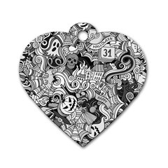 Halloween Pattern Dog Tag Heart (two Sides) by ValentinaDesign