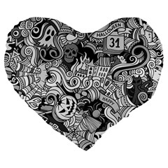 Halloween Pattern Large 19  Premium Heart Shape Cushions by ValentinaDesign