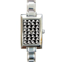 Halloween Skull Pattern Rectangle Italian Charm Watch by ValentinaDesign