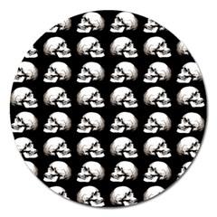 Halloween Skull Pattern Magnet 5  (round) by ValentinaDesign