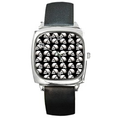 Halloween Skull Pattern Square Metal Watch by ValentinaDesign