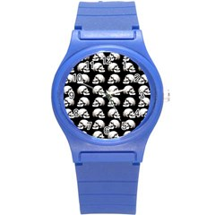 Halloween Skull Pattern Round Plastic Sport Watch (s) by ValentinaDesign