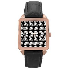 Halloween Skull Pattern Rose Gold Leather Watch  by ValentinaDesign