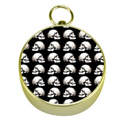 Halloween Skull Pattern Gold Compasses by ValentinaDesign