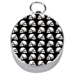 Halloween Skull Pattern Silver Compasses by ValentinaDesign