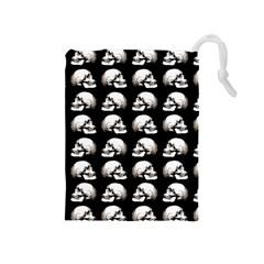 Halloween Skull Pattern Drawstring Pouches (medium)  by ValentinaDesign