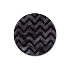 Chevron9 Black Marble & Black Watercolor (r) Magnet 3  (round) by trendistuff